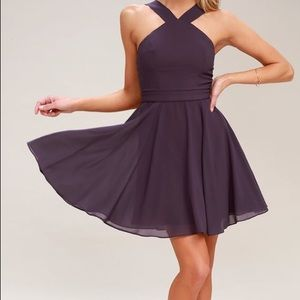 NWT LULUS FOREVERMORE DUSTY PURPLE SKATER DRESS S